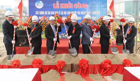 To chuc le khoi cong du an nha o cho nguoi thu nhap thap tinh Thai Binh do cong ty Damsan la chu dau tu
