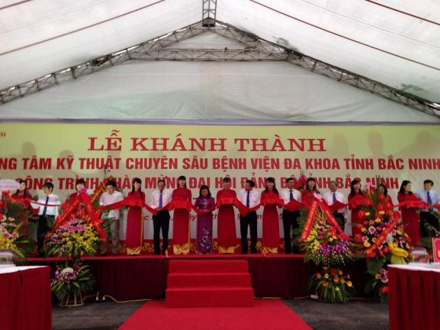 Le Khanh thanh trung tam ky thuat chuyen sau Benh vien da khoa tinh Bac Ninh cong trinh chao mung dai hoi dang bo tinh Bac Ninh lan thu 19